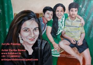 Family painting on canvas