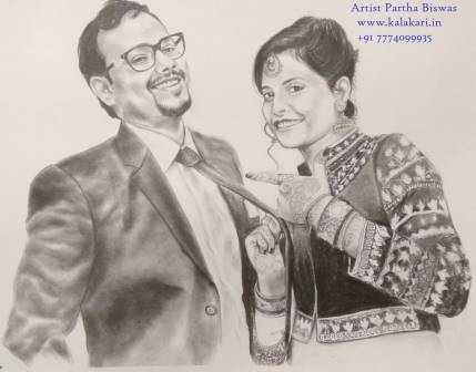 "Couple's handmade pencil sketch on 11.7""x16.5"" paper"