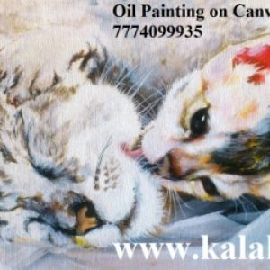 """oil painting of a cat on canvas. Size: 11.8""""x16.5"""""""