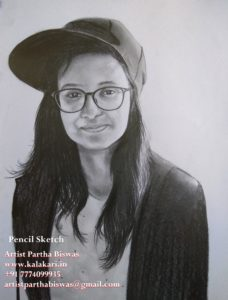 "graphite pencil sketch of a girl with cap on 8.3""x11.7"""