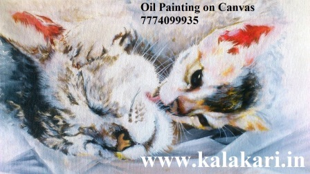 Oil Painting of a cat and kitten on Canvas