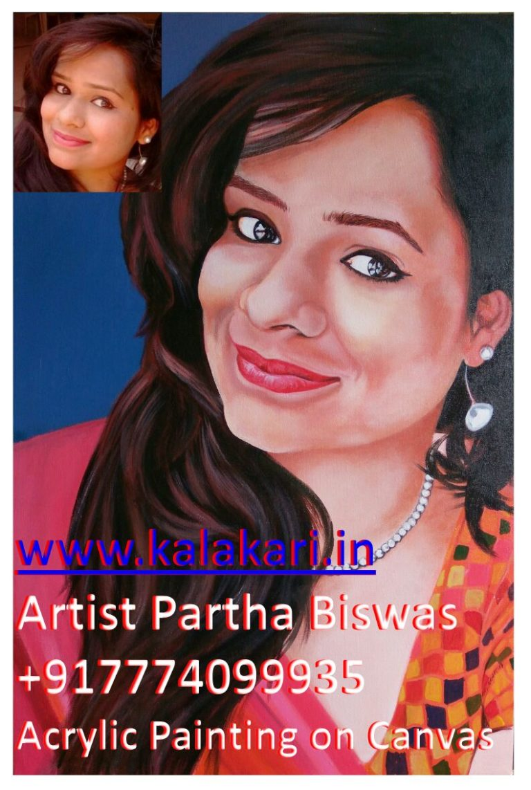 Acrylic portrait painting of a girl