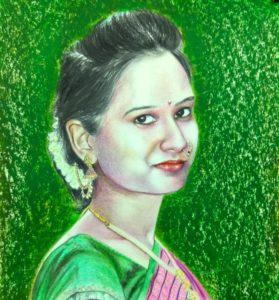 pencil color sketch. hand drawn pencil color portrait. color pencil sketch artist in india