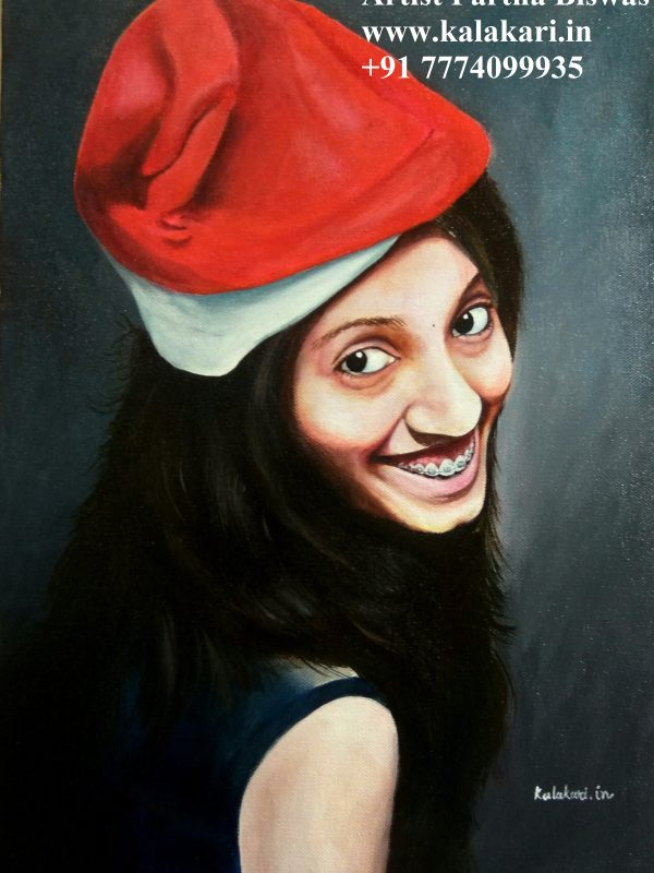 portrait painting in acrylic colors. photo to portrait painting