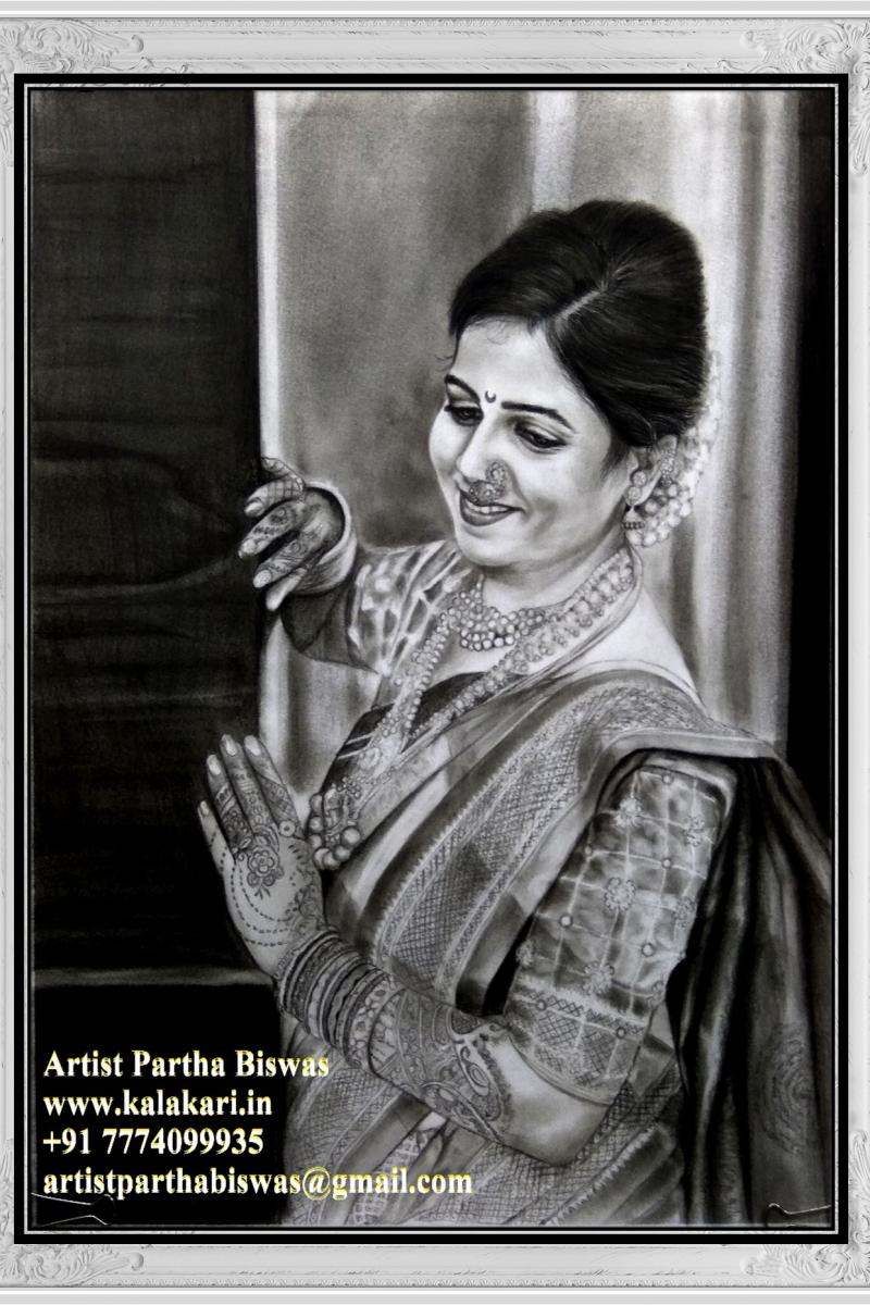 Photo to charcoal sketchgift custom handmade portrait charcoal drawing artist pune