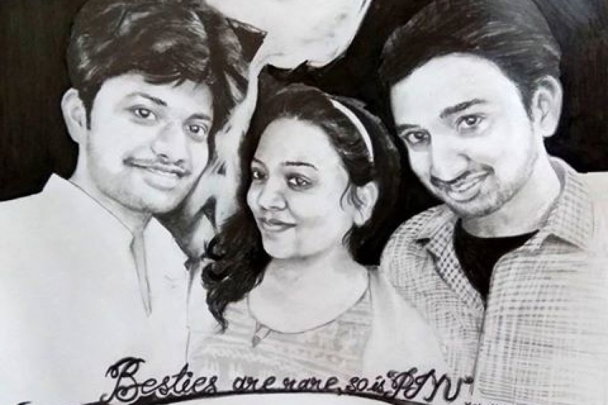 Charcoal sketch drawing of three friends