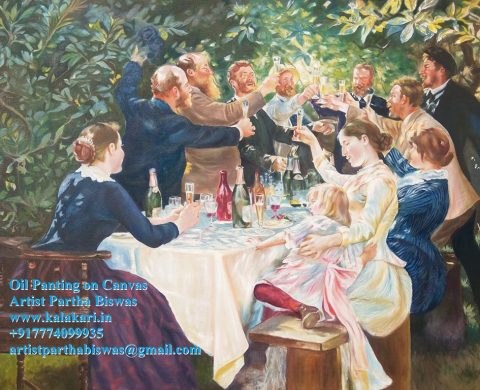 oil painting on canvas. hip hip hurrah. Size: 23.4