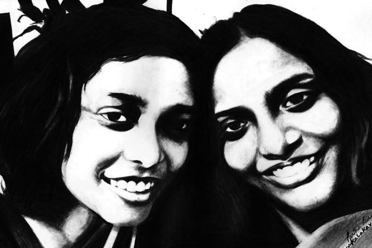 charcoal sketch of two friends